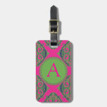 Preppy Pink Damask Tags For Bags