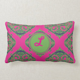 Preppy Pink Damask Throw Pillow