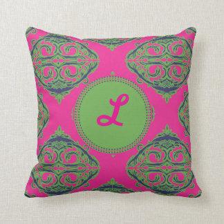 Preppy Pink Damask Throw Pillows
