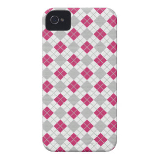 Preppy Pink Gray Argyle Fuchsia Diamond Pattern Case-Mate iPhone 4 Cases