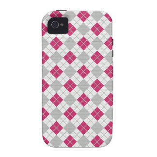 Preppy Pink Gray Argyle Fuchsia Diamond Pattern iPhone 4/4S Covers