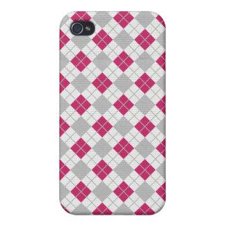 Preppy Pink Gray Argyle Fuchsia Diamond Pattern iPhone 4/4S Cases
