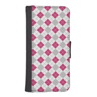 Preppy Pink & Gray Argyle Fuchsia Diamond Pattern iPhone SE/5/5s Wallet