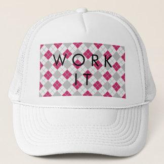 Preppy Pink & Gray Argyle Fuchsia Diamond Pattern Trucker Hat