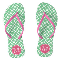 Preppy Pink & Green Bamboo Lattice Monogram Flip Flops