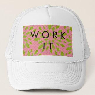 Preppy Pink & Green Bloom Dot Lime Pink Print Trucker Hat