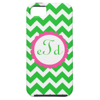 Preppy Pink Green Chevron Initial Monogram Case iPhone 5 Case