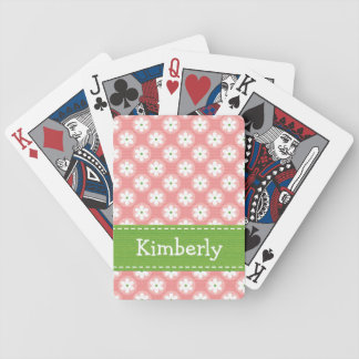 Preppy Pink Green Daisy Bicycle Playing Cards