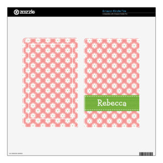 Preppy Pink Green Daisy Kindle Fire Skin