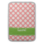 Preppy Pink Green Daisy Macbook Air Sleeve 13 / 11 at Zazzle