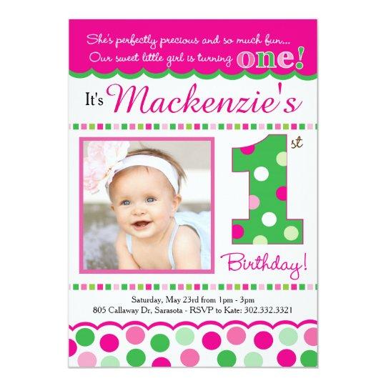 Preppy pink green polka dot first birthday invitation zazzle preppy pink green polka dot first birthday invitation filmwisefo