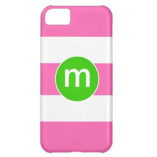 Preppy Pink Green Stripe Custom Initial iPhone iPhone 5C Covers