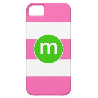 Preppy Pink Green Stripe Custom Initial iPhone iPhone 5 Cases