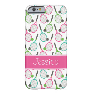 Preppy Pink Green Teal Tennis Pattern Personalized Barely There iPhone 6 Case