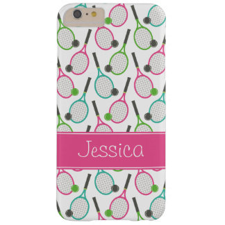 Preppy Pink Green Teal Tennis Pattern Personalized Barely There iPhone 6 Plus Case