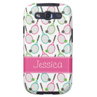 Preppy Pink Green Teal Tennis Pattern Personalized Samsung Galaxy S3 Case