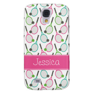Preppy Pink Green Teal Tennis Pattern Personalized Samsung Galaxy S4 Case