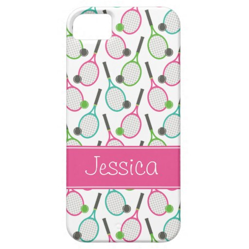 Preppy Pink Green Teal Tennis Pattern Personalized iPhone 5 Case