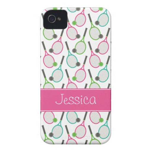 Preppy Pink Green Teal Tennis Pattern Personalized iPhone 4 Case