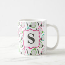 Preppy Pink Green Teal Tennis Pattern Personalized Coffee Mug