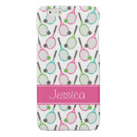 Preppy Pink Green Teal Tennis Pattern Personalized Glossy iPhone 6 Case