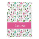 Preppy Pink Green Teal Tennis Pattern Personalized iPad Mini Case