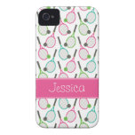 Preppy Pink Green Teal Tennis Pattern Personalized iPhone 4 Case-Mate Case