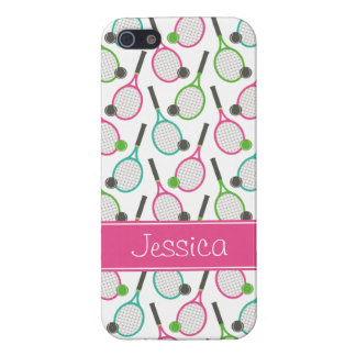 Preppy Pink Green Teal Tennis Pattern Personalized iPhone 5/5S Case