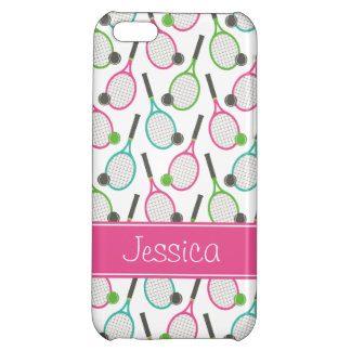 Preppy Pink Green Teal Tennis Pattern Personalized iPhone 5C Cases