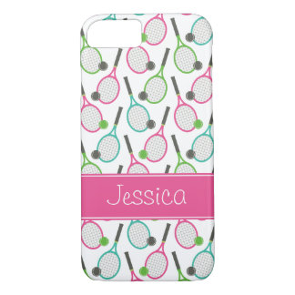 Preppy Pink Green Teal Tennis Pattern Personalized iPhone 8/7 Case