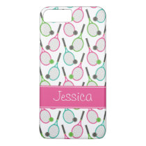 Preppy Pink Green Teal Tennis Pattern Personalized iPhone 8 Plus/7 Plus Case