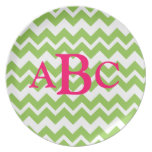 Preppy Pink & Green Zig Zag Initial Plate