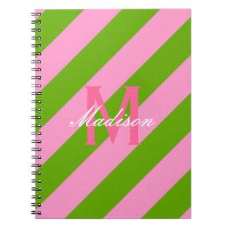 Preppy Pink & Lime Green Striped Monogram Spiral Notebook