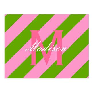 Preppy Pink & Lime Green Striped Monogram Postcard
