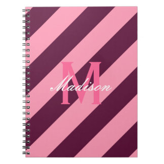 Preppy Pink & Maroon Striped Monogram Note Books