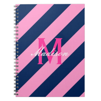 Preppy Pink & Navy Blue Striped Monogram Note Book