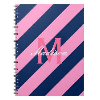 Preppy Pink & Navy Blue Striped Note Book
