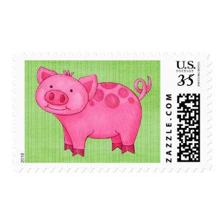 Preppy Pink Pig Green Stripes Postage