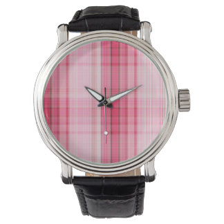 Preppy Pink Plaid Blush Madras Candy Pink Classic Watch