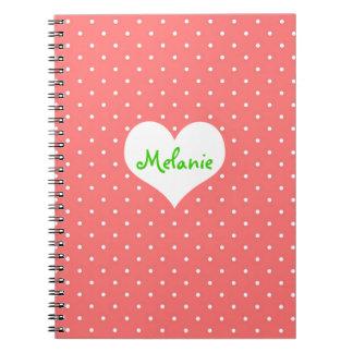 Preppy pink polka dot heart personalized journal