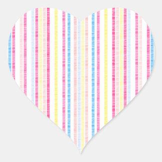 Preppy Pink Rainbow Seersucker Stripes Heart Sticker