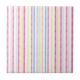 Preppy Pink Rainbow Seersucker Stripes Tile