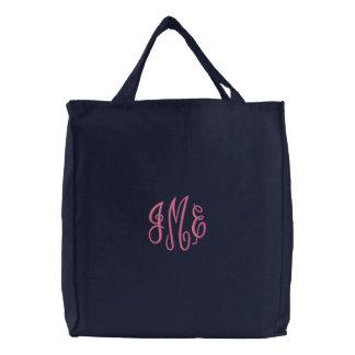 Preppy Pink Script Monogram Embroidered Navy Bag