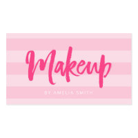 Preppy Pink Stripes Brush Script Makeup Business Card