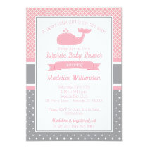 Preppy Pink Whale Baby Shower Invitation