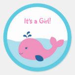 Preppy Pink Whale Envelope Seals Stickers