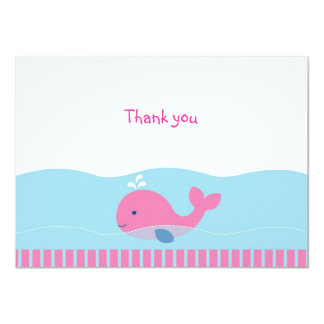 Preppy Pink Whale Flat Thank You Note Cards