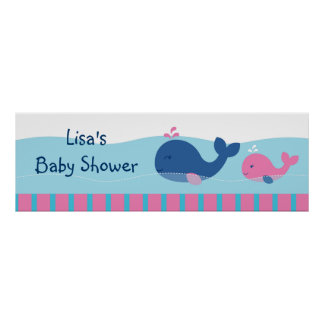 Preppy Pink Whale Personalized Banner Sign Print