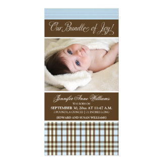 Preppy Plaid Birth Announcement (blue)