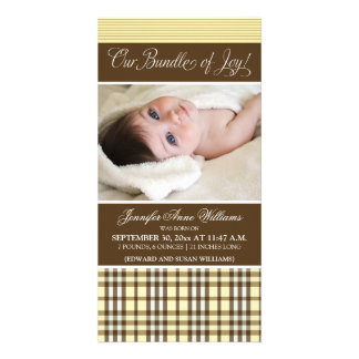 Preppy Plaid Birth Announcement (lemon)